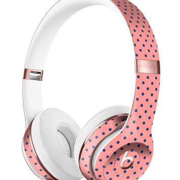 Navy Blue Micro Polka Dots Over Coral Full-Body Skin Kit for the Beats by Dre Solo 3 Wireless Headphones