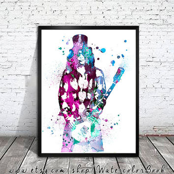 Slash Watercolour Painting Print, Guns N' Roses art, watercolor painting, watercolor art, Celebrity Portraits, Slash art, Slash print,
