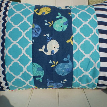 Throw pillow cover,Nursery pillow cover,nautical pillow,boy or girl room throw,teal,navy blue,aqua,turquoise,whales,shower gift,12X16 inches