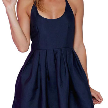 Navy Strappy Back Cross Skater Mini Dress