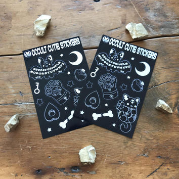 Occult Cuties Sticker Sheet ( spooky stickers halloween bat cat ouija palm reading kitty goth black white ) - (Pack of 2)