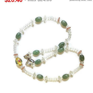 SALE Green Jade & Clear and Amber Glass Beads Necklace with Venetian Art Glass Centerpiece Vintage