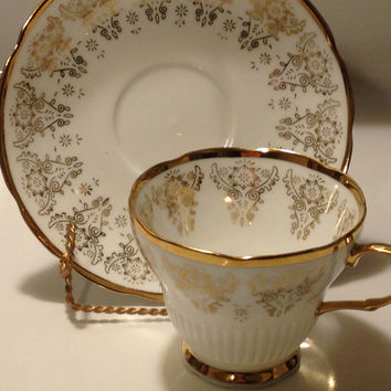 Gold Gilt Teacup and Saucer Made in China Peacock Emblem marked H Bone China Vintage 1930s Chinese Symbols