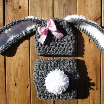 Newborn Bunny Set Heather Grey White Pink Baby Photo Prop
