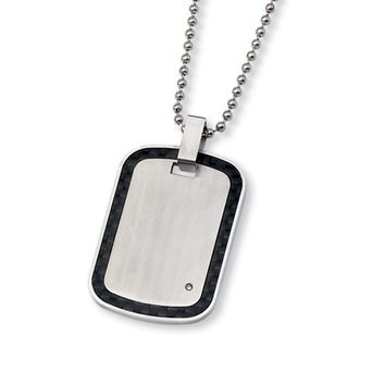 Stainless Steel, Carbon Fiber and Diamond Accent Dog Tag Necklace