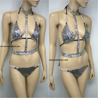 AB Silver Rhinestone Sequin Triangle Bikini Top and Bottom with Choker Necklace Belt