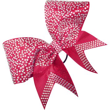 Mystique fabric bow with scattered rhinestones on the loops.