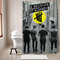 5 second of summer last boys shower curtain
