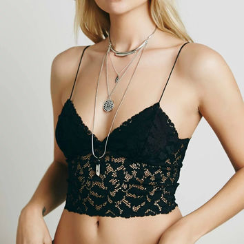 Fashion  Female Solid Color V-Neck Hollow Lace Bra Strap Crop Top Sling-shirt