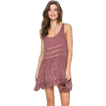 FREE PEOPLE VOILE TINY DOT TRAPEZE SLIP DRESS