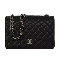 CHANEL Black Quilted Caviar Classic Double Flap Bag SHW