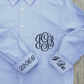 Blue Bride or Bridal Party Shirt - Monogrammed Button Down Wedding Day Shirt