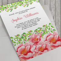 Printable Bridal Shower Invitation, Pink Watercolor Flowers, Spring Flowers, Spring Wedding, 5x7 In, Pink and Green Floral, Elegant Bridal