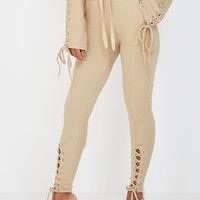 Rib Textured Lace-Up Joggers - Beige