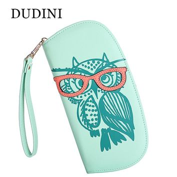 DUDINI Wallets Purse Cute Owl Glasses Hit Color Printing Korean Rounded Zip Long Women Wallet Ladies' Clutch Card & Id Holders
