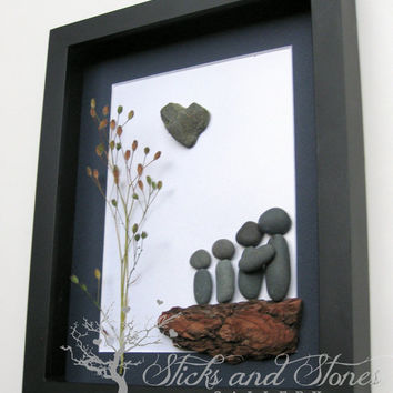 Unique Family Gift - Pebble Art Family Gift - Customized Family Art Work - West Coast Stone Art - Family of Four - Love Gifts - Handmade Art