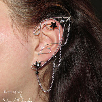 Elbereth Elf Ears, LOTR Elf Ears, Elf Earrings, Fantasy Earrings, no piercing earrings, wire ear cuff, elf ear wrap, Cosplay jewelry