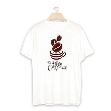 It's Coffee Time Quote Text Unisex T shirt White_LOKIshop