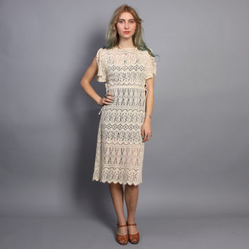1970s CROCHET Lace DRESS / Sheer Ecru Flutter Sleeve Apron Dress, xs