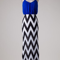 Chevron Bottom Solid Top Maxi Dress - Royal Blue