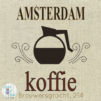 Printable Fabric Transfer Image, Digital Image, Paper Craft Supplies, Instant Art, Home Decor, Clipart - Amsterdam, Dutch Coffee Shop
