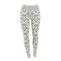 "Pom Graphic Design ""Tribal Marrakech"" Red White Yoga Leggings"