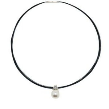 Necklace Choker Stainless Steel Bands Pearl Pendant twist clasp closure 40 cm.