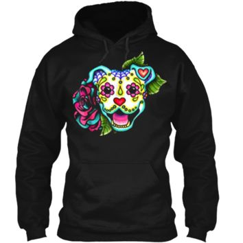 Smiling Pitbull in White - Day of the Dead Sugar Skull Dog Pullover Hoodie 8 oz