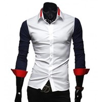 The Griffin Tailored Fit Shirt Navy/Red - leatherandcotton