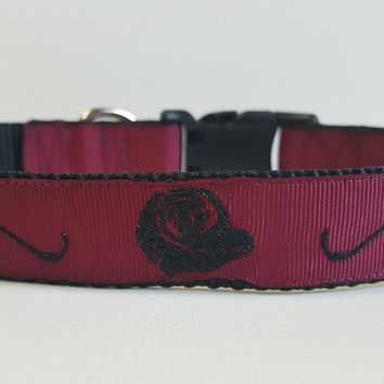 Tribal Rose Embroidered Dog Collar