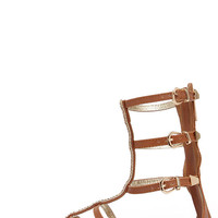 Warrior Princess Tan and Gold Beaded Gladiator Sandals