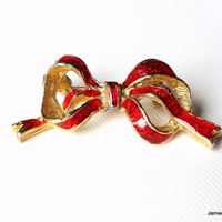 Vintage Red Enamel Christmas Bow Brooch Pin, Goldtone with Red Glitter Enamel Bow Brooch Pin, Festive Holiday Accessory Gold Red Brooch Pin