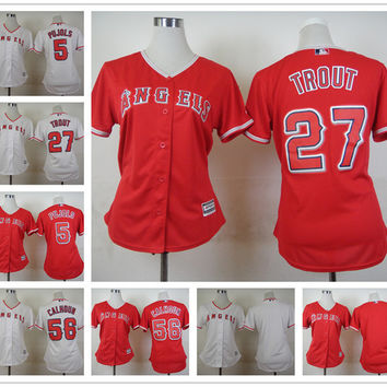 Los Angeles Angels Women Jersey Mike Trout Albert Pujols Kole calhoun White Red