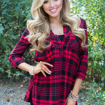 Filled With Blessings Plaid Tunic Red