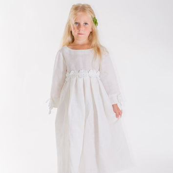 Linen dress with crochet flowers, baptism dress white