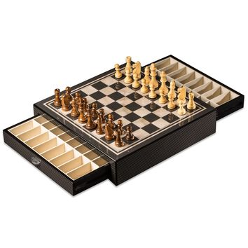 Carbon Fiber and Mother Of Pearl Look Chess Chest (Chess Board and Set)