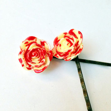 Creepy Hair Pin, Bloody Flower, Goth Bobby Clip, Halloween Accessory, Hair Clip, Yellow Rose, Zombie Hair Piece, Dead Flower, Bobby Pin