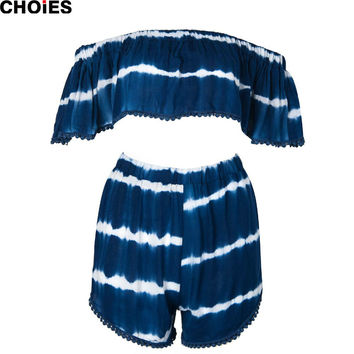 Women 2016 Summer Style Navy Off The Shoulder Pom Pom Trim Flounce Crop Top And Shorts 2 Piece Set Suits Cropped ropa