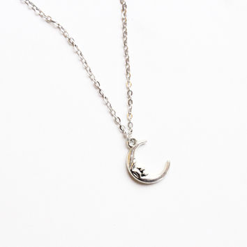 Silver Moon Layering Necklace