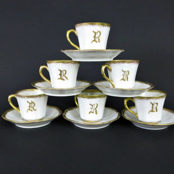 Demitasse Cups - Bassett Limoges China - Set of 6 - Espresso Cups and Saucers - Chocolate Cups - Gilded Fine Bone China