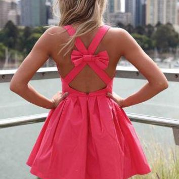 Pink Sleeveless Mini Dress with Open Cross Bow Back
