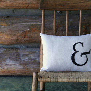 "ampersand pillow cover / typography font pillow / rustic /  black / appliqued / 12"" x 16""  / industrial urban farmhouse / fall decor"