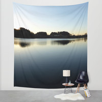 Indian summer sunset at the fishing lake V | waterscape photography Wall Tapestry by Patrick Jobst | Society6
