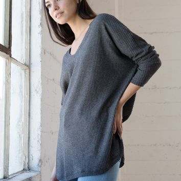 Waffle Knit Top - Charcoal