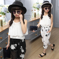 Girl Summer Stylish Suits with Chiffon Camisole and Casual Floral Pants Black White Children Clothing-in Clothing Sets from Mother & Kids on Aliexpress.com | Alibaba Group