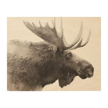 "14"" x 11"" Woodsy Rustic Brown Moose Wood Wall Decor"