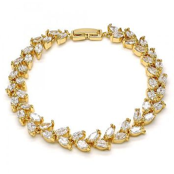 Gold Layered Tennis Bracelet, Leaf Design, with Cubic Zirconia, Gold Tone