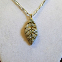 Silver Leaf Necklace, clay, gold, pendant, fall designed etched thin autumn one of a kind streaks ooak unique sleek very nice aluminum chain