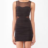 Ruched Dotted Mesh Dress