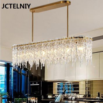 Modern rectangular dining room chandelier lamp water waterfall bar light luxury chandelier designer model room LED lamps